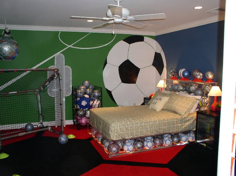 Boy bedroom design with soccer themehome designs for Boys sports bedroom ideas