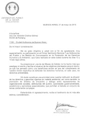 Agradecimiento del Defensor del Pueblo