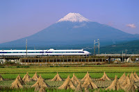 bullet train and fuji mountain