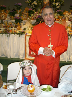 Brenna with Cardinal DiNardo at St Francis Cabrini for St. Joseph Feast Day