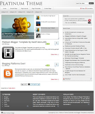 Platinum theme blogger template