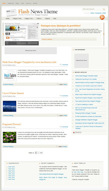 Flash News Blogger Template