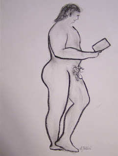 EROTIC MALE NUDE DRAWING CHARCOAL ORIGINAL FALLINI