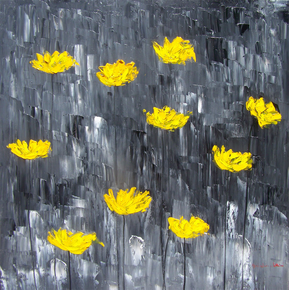 paintings by monica fallini yellow poppies on gray