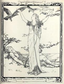 Dessin de John D. Batten, 1892, femme, dessin, noir et blanc, alongée, oiseaux, reveries, ange, priere,
