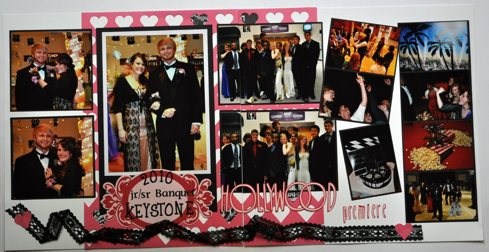 Scrapbook ideas without photos - I Used A Full Page Diecut With Hearts Cut Out And Filled Some Of The Negative Heart Spaces With Black And White Patterned Paper