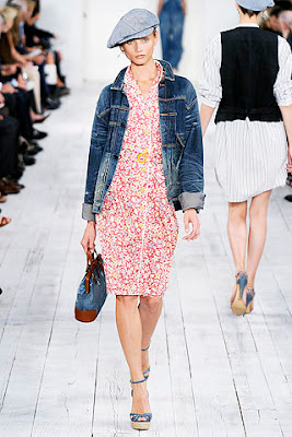 denim jacket and denim news boy cap worn over paisley print dress from Ralph Lauren's spring summer collection