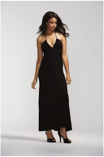 long black halterneck dress