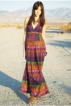 feather print maxi dress