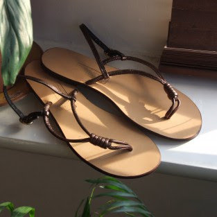 bronze leather sandals