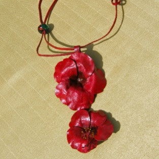 hibiscus leather necklace