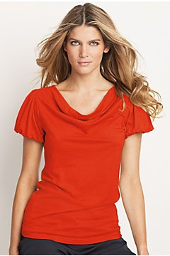 bright orange cowl neck top
