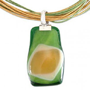 orange and green art glass choker