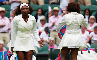 fashion at wimbledon 2009, serena williams in trench style coat