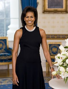 black sleeveless shift dress by Michael kors worn by Michelle Obama
