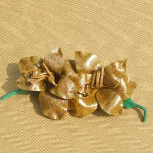 leather amaryllis flower brooch, floral brooch, floral jewellery, flower jewellery