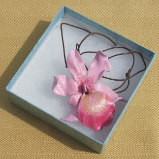 Orchid pendant, Flower jewellery, floral jewellery