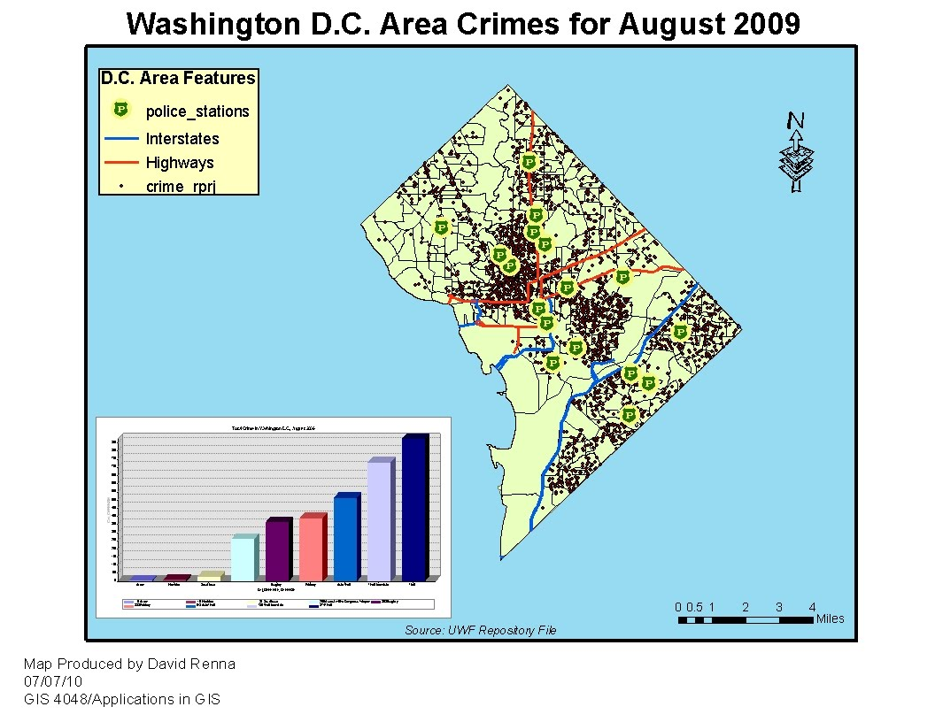 this is my basemap for week 8 washington d c crime analysis i have included the required graph which breaks down area crime by type and gives totals for
