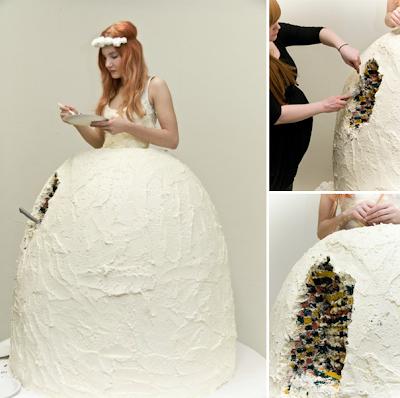Vestido-tarta de novia