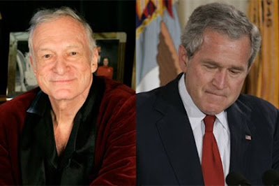 Hugh Hefner y George W. Bush