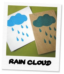 rain cloud hand carved stamp