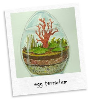 egg terrarium watercolor painting
