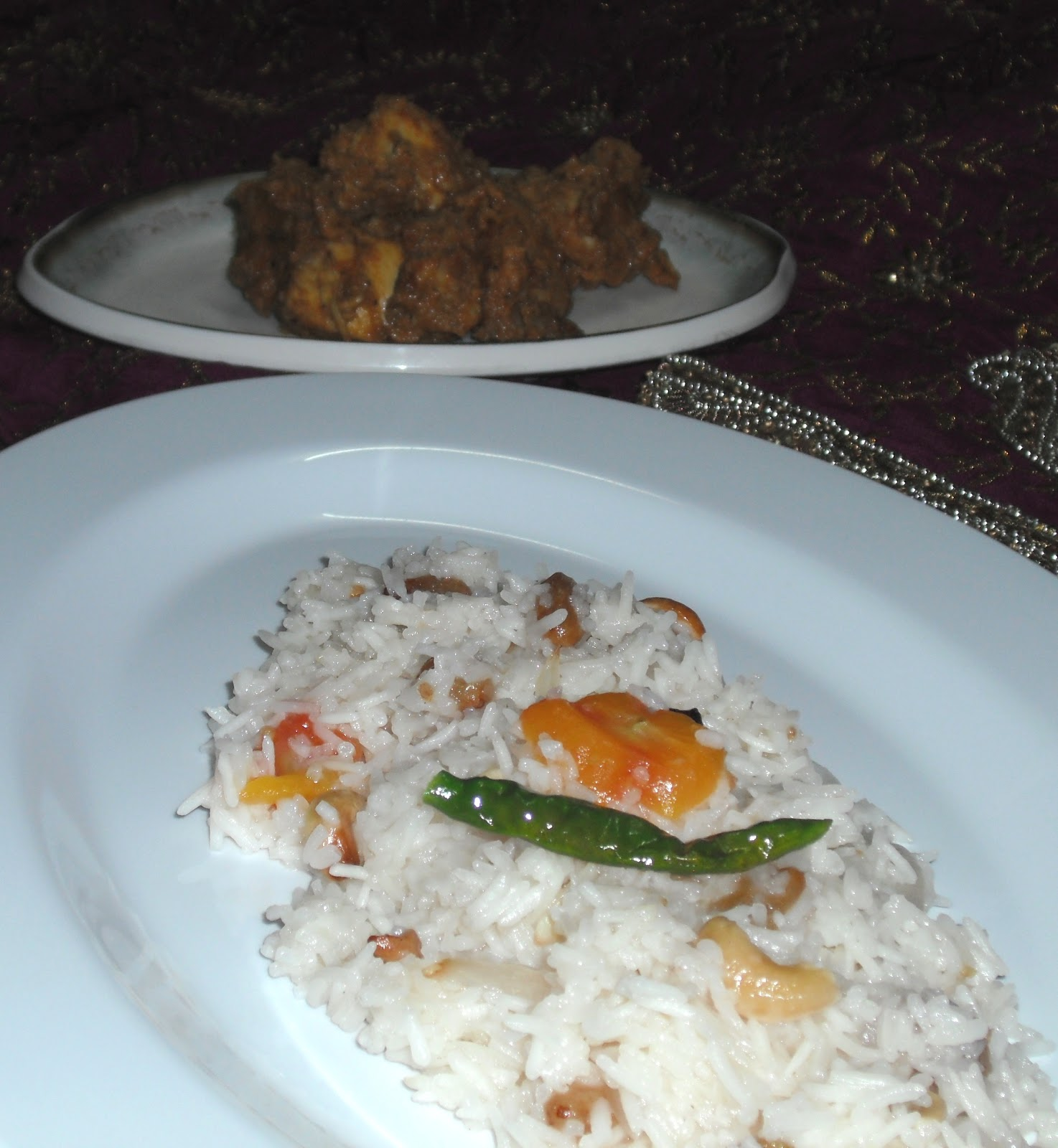 Tomato Pilaf with Mughlai Chicken