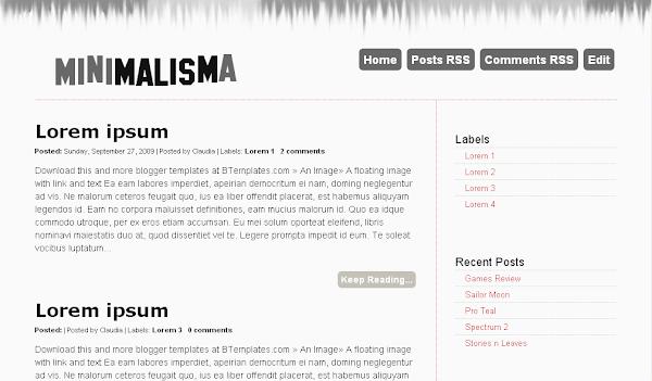 Minimalisma Blogger Template