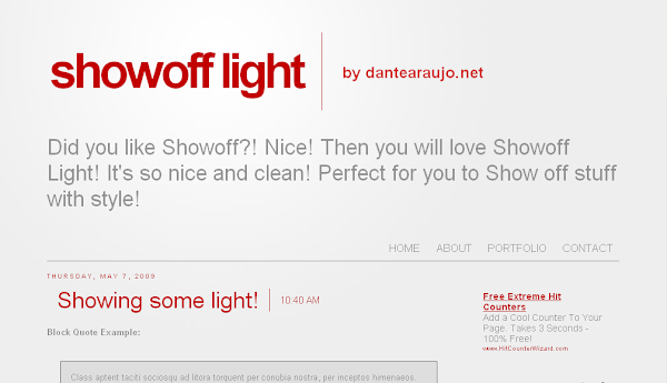Showoff Light Blogger Template