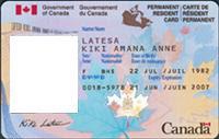 Ejemplo de la tarjeta de residente permanente