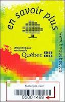 Ejemplo de la tarjeta de miembro de la Bibioteca de Québec