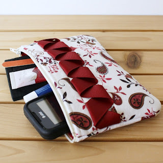 Handmade Zipper Pouch- Ribbony Pouch in Red Paisley Print
