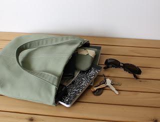 handmade tote handmade bag slim tote in sage