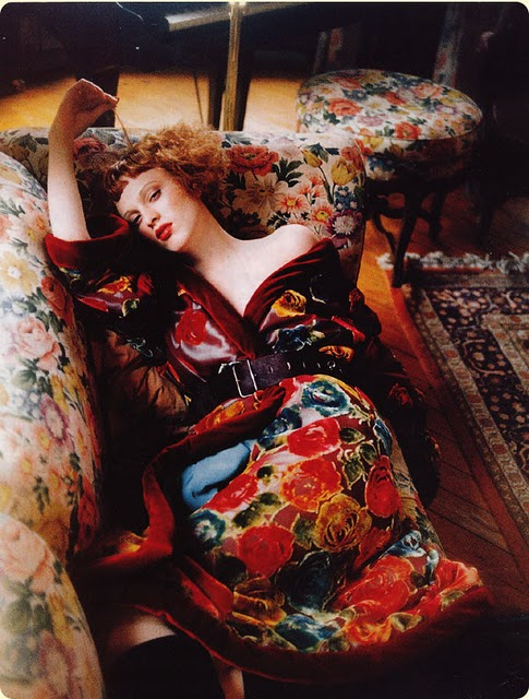 Karen Elson in layers of vintage florals, styled by Grace Coddington
