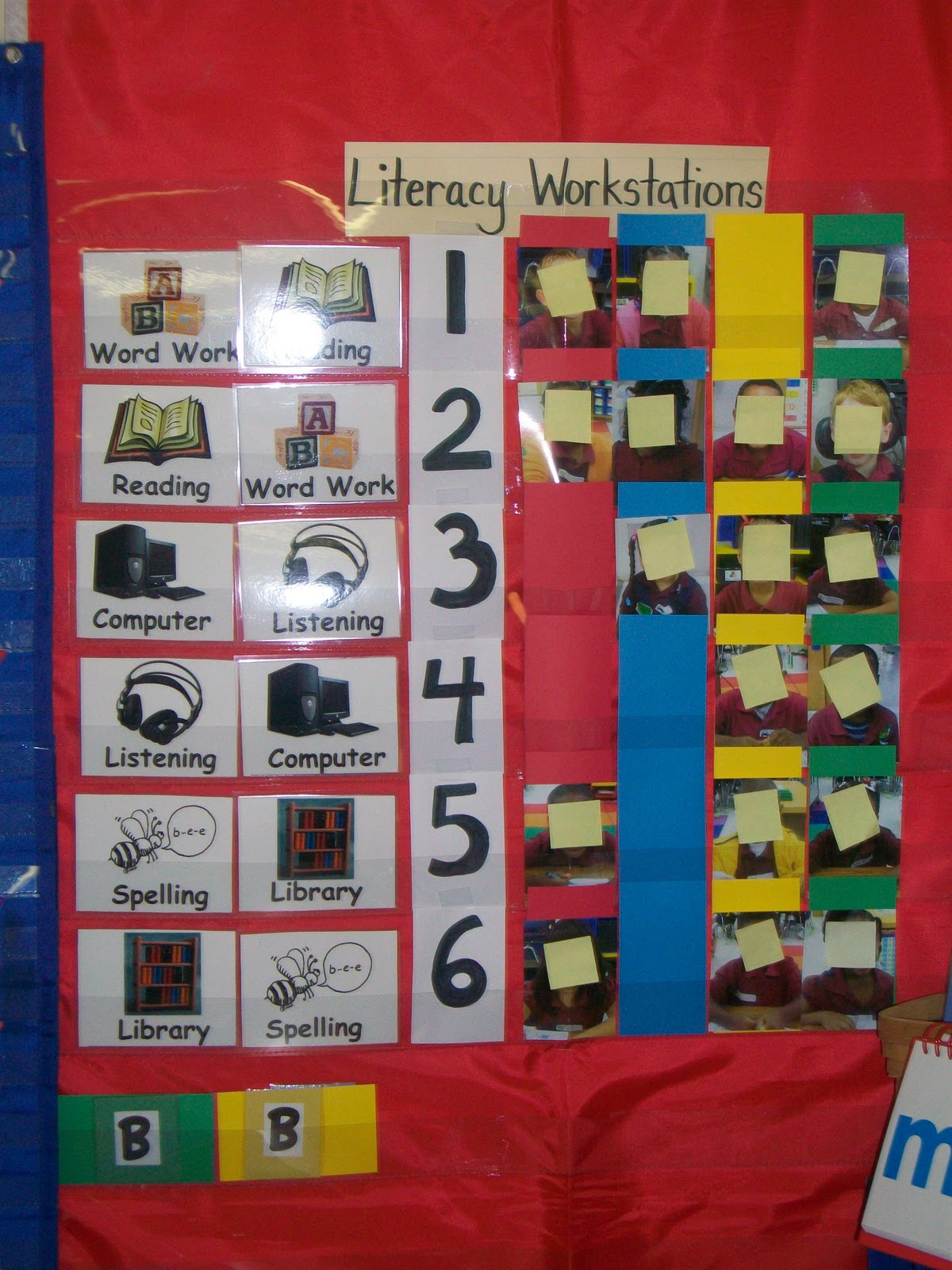 Classroom Workstation Ideas ~ First grade school box literacy workstation rotation chart