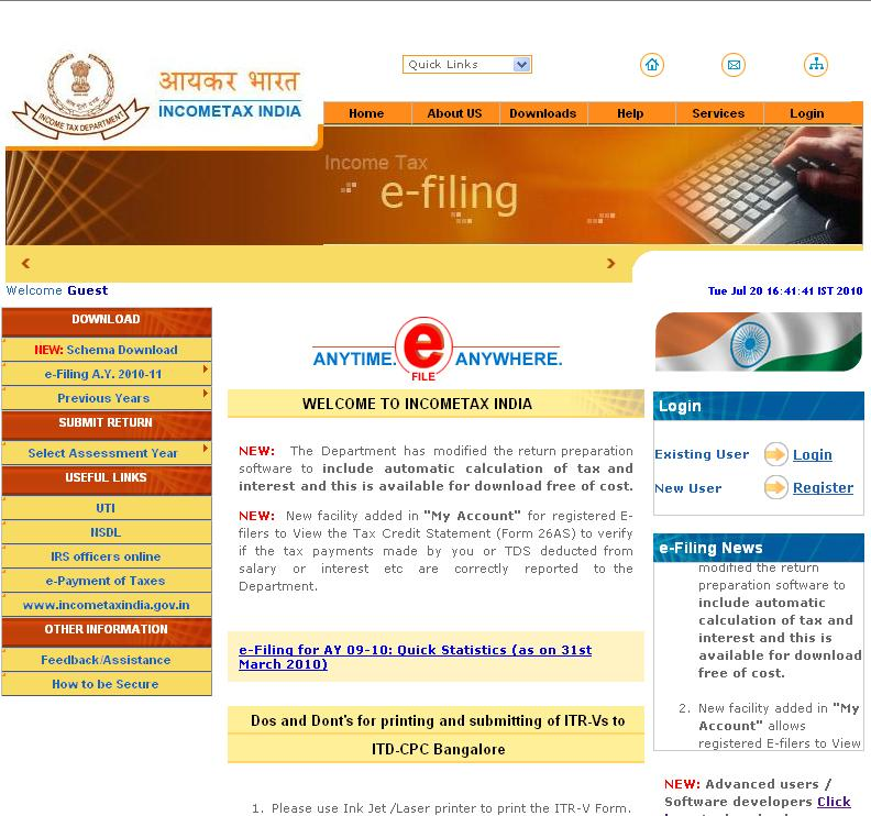 Income Tax Efiling Return Form Online At www.incometaxindiaefiling.gov.in
