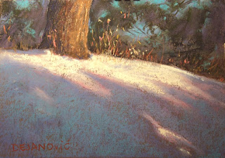 pastel painting, plein air in High Park soft pastels, snow covered hill with shadows and dried grass