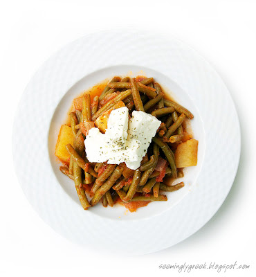 Fasolakia above Green Beans in Tomato Sauce