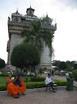 Monks and locals at Patuxai, Vientiane