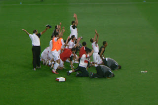 Jordan celebrate at the final whistle