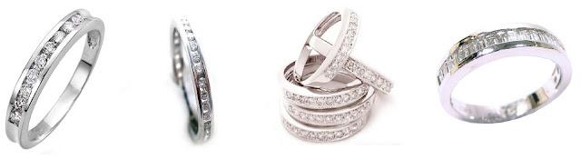 Medias alianzas de oro blanco y diamantes