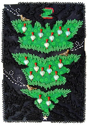 bead embroidery, Dark Thoughts Pointing at Christmas