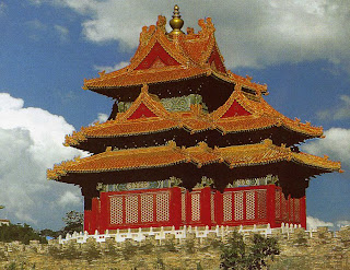 A corner tower of the Forbidden City, located at the middle of Beijing