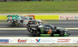 John Force and Kenny Bernstein racing side by side at NHRA