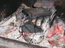Tiles being raku fired