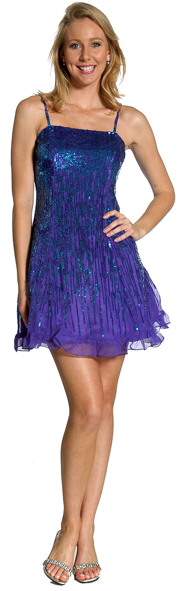 Chic style short purple prom dress