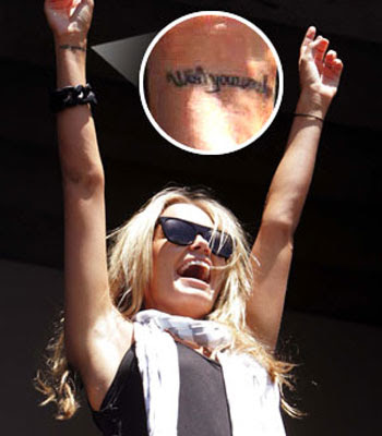 "Lara Bingle has a single tattoo design of the phrase ""wish you were here"","
