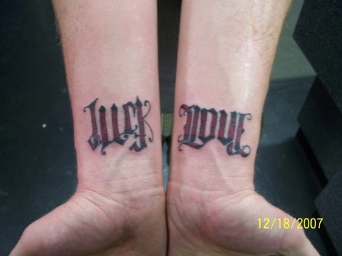 Ambigram tattoo on wrist.