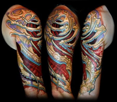Biomechanical Tattoo realistic on the arm