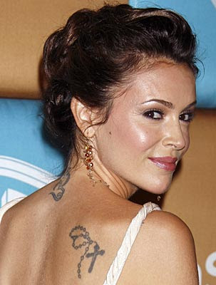 Alyssa Milano back and neck tattoos.